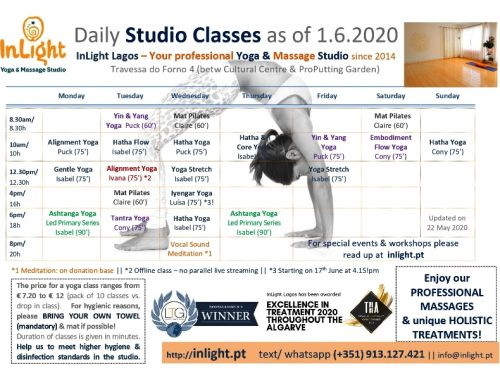 Yoga Studio will reopen with daily classes from 1st June!