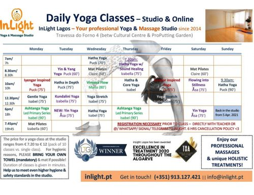 Studio Yoga classes restarting on April 5th!  – R u in?